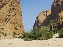 The Wadi Shab with emerald green water Royalty Free Stock Photos