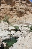 Wadi Shab in Oman. A Water Paradise in the desert Royalty Free Stock Images