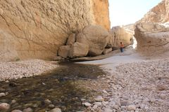 Wadi Shab in Oman. A Water Paradise in the desert Royalty Free Stock Photography
