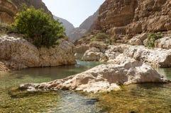 Wadi Shab. River flowing through wadi Shab in Oman Stock Photos