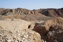 Wadi Shahamon nära Eilat Arkivfoto