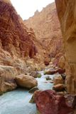 Wadi Zarqa Ma`in canyon located in the mountainous landscape to the east of the Dead Sea, near to Wadi Mujib, Jordan, Middle East. Wadi Zarqa canyon located in stock photography