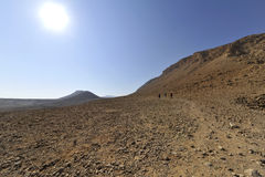 Wadi Zohar trek in Judea desert. Stock Photo