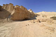 Wadi Zohar trek in Judea desert. Royalty Free Stock Images