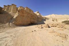 Wadi Zohar trek in Judea desert. White sediment hills in arid part of Judea desert in Israel Royalty Free Stock Images