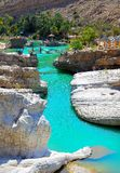 Wadiego Bani Khalid Szmaragdowy basen, Oman Fotografia Stock