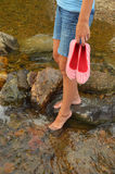 Wading in Creek Stock Image
