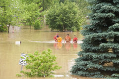 Wading through flood water Stock Photos