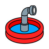 Wading pool with periscope. Circular red wading pool with cute little steel periscope peeking up through the blue water vector illustration