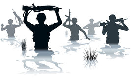 Wading soldiers. EPS8 editable vector illustration of soldiers on patrol wading through water Stock Photography