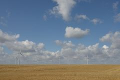 Wadlow Wind Farm in the cambridge countryside Royalty Free Stock Images