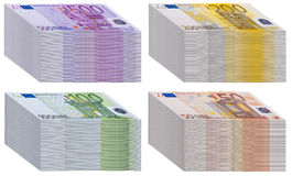 Wads of banknotes. This image shows a stack of banknotes of 50, 100, 200 and 500 euros Royalty Free Stock Photography