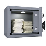 Wads of cash in an open metal safe. Isolated render on a white background Stock Photography