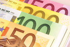 Wads of euros Stock Photo