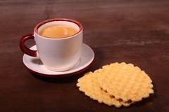 Wafel, caramel waffle and coffee cup, coffeebreak on dark background. Wafel, caramel waffle and coffee cup coffeebreak on dark background stock photos