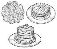 Wafel, pannekoekillustratie, tekening, gravure, inkt, lijnkunst, vector royalty-vrije stock afbeeldingen
