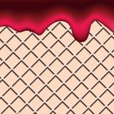 Wafelaardbei en de rode abstracte achtergrond van de bessen vloeibare cake royalty-vrije illustratie