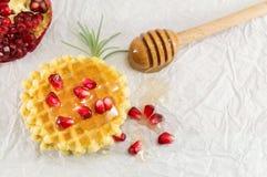 Wafelkoekjes met honing en granaatappel Royalty-vrije Stock Fotografie