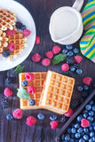 Wafels with berry Royalty Free Stock Photos