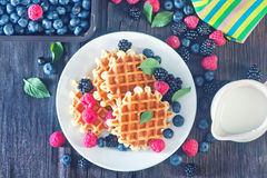 Wafels with berry Royalty Free Stock Images