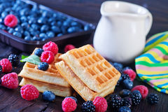 Wafels with berry Royalty Free Stock Photo
