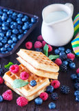 Wafels with berry Stock Image