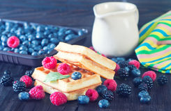 Wafels with berry Stock Photo
