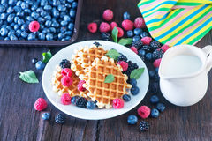 Wafels with berry Royalty Free Stock Image