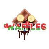 Wafels met banaan Stock Afbeelding