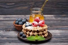 Wafels met bosbessen, frambozen en honing Royalty-vrije Stock Foto's