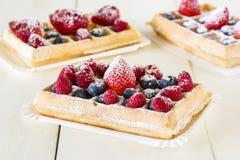 Wafels met fruit royalty-vrije stock foto