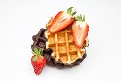 Wafels met fruit Royalty-vrije Stock Foto's