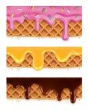 Wafelschocolade, honing, glans royalty-vrije illustratie
