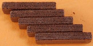Wafeltje-cakes met cacaomassa royalty-vrije stock foto