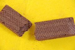 Wafeltje-cakes met cacaomassa stock fotografie