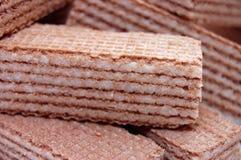 Wafeltje-cakes met cacaomassa Stock Afbeelding