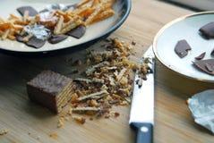 Wafeltje en chocolade Stock Foto
