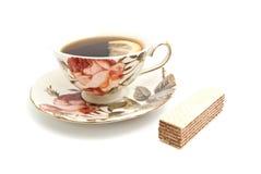 Wafeltje en kop thee met citroen royalty-vrije stock foto's