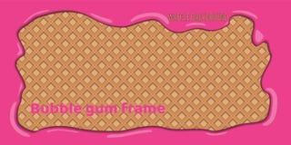 Wafeltjeachtergrond met roze kauwgomkader royalty-vrije illustratie