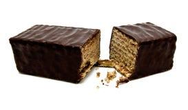 Wafeltjechocoladereep op wit Stock Afbeelding