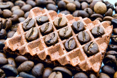 Wafeltjes en koffie Stock Foto's