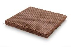 Wafeltjes met chocolade op wit wordt geïsoleerd dat stock fotografie