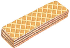 Wafer. A vanilla wafer with chocolate isolated on white background Royalty Free Stock Images