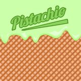 Wafer background with pistachio ice cream royalty free illustration