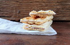 Wafer biscuit. On wood Royalty Free Stock Images