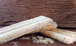 Wafer biscuit. On wood Stock Photography
