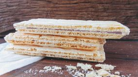 Wafer biscuit. On wood Stock Image