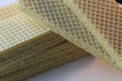 Wafer. Biscuit on the white plate Royalty Free Stock Photos