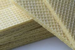 Wafer vanilla. Wafer biscuit on the white plate Stock Photo