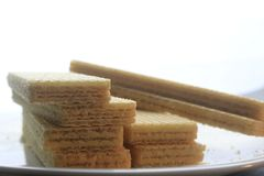 Wafer. Biscuit on the white plate white ground Stock Photography